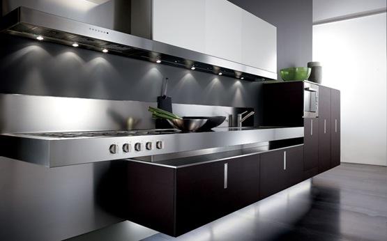 Cocinas contempor neas en colores blanco y negro interiores for Cocina con electrodomesticos de color negro