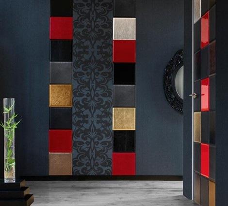 cuero azulejos de cuir au carre interiores. Black Bedroom Furniture Sets. Home Design Ideas