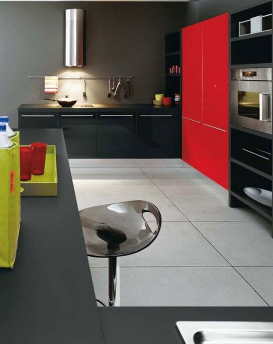 cocina en colores blanco negro y rojo 01