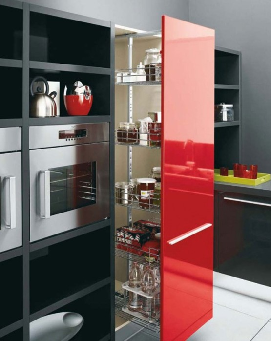 cocina en colores blanco negro y rojo 02