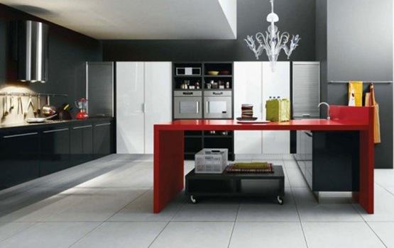 cocina en colores blanco negro y rojo 03