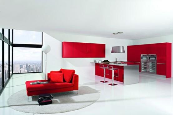 Dise o de cocinas modernas combinando colores rojo y for Interior cocinas modernas
