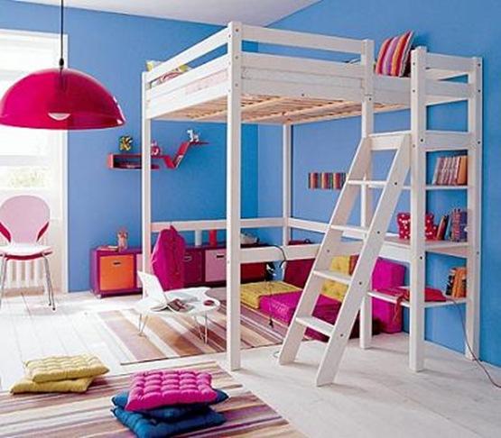 Gana espacio en tu cuarto con una cama alta interiores - Cama con escritorio abajo ...