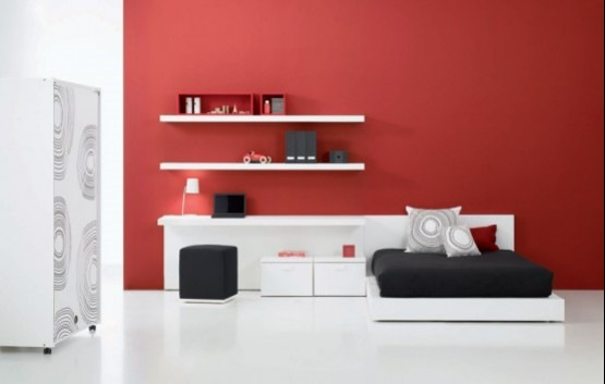 12 modernas y elegantes habitaciones para los adolescentes for Casa minimalista roja