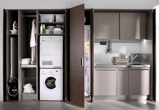 Cocina invisible de estilo minimalista interiores for Cocina y bano juntos