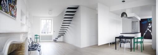 Departamento duplex minimalista interiores for Escaleras de duplex