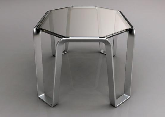 mesa de centro en aluminio