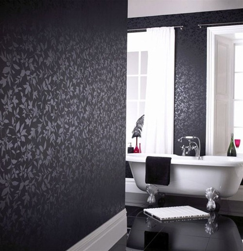 black and white wallpaper for bathrooms paredes con interiores en color negro interiores 25150