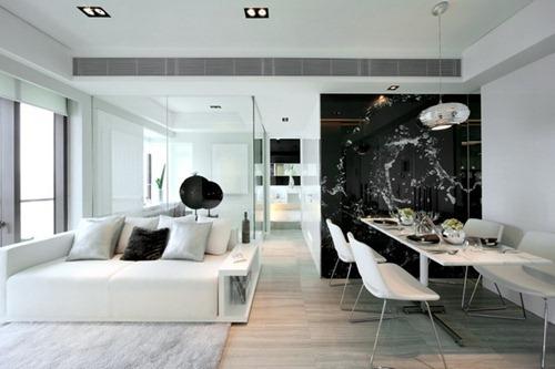 Dise os contempor neos en blanco y negro interiores for Iluminacion para departamentos modernos