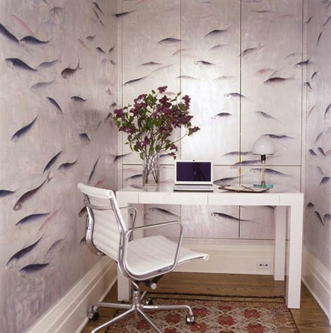 small-home-office-with-hilarious-wallpaper