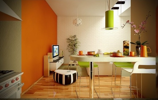 2-orange-lime-green-white-dining-living-room-665x422