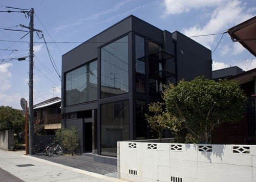 Casa De Hendidura Negra Arquitectura Moderna Japonesa