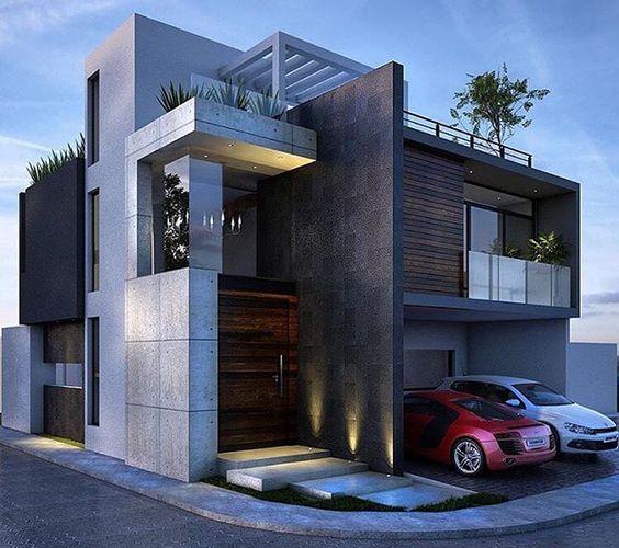 15 fachadas modernas y opulentas que desear as tener en tu for Frentes de casas minimalistas fotos
